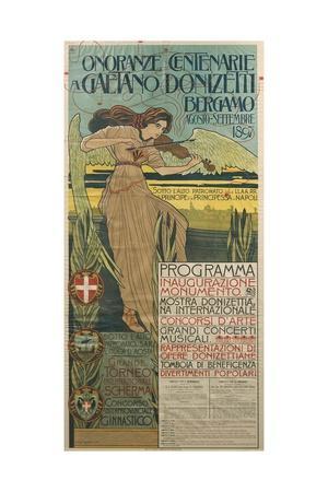 Italy, Bergamo, Poster Commemorating 100th Anniversary of Birth of Composer Gaetano Donizetti