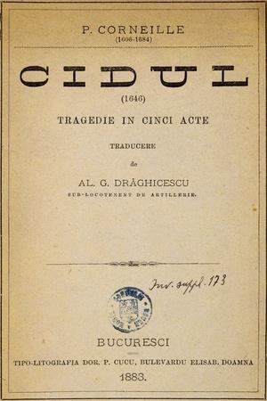 Title Page of Bucharest Edition of the Cid, 1883