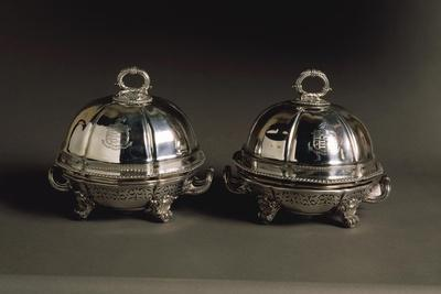 Pair of Silver Covered Dishes, Engraved with Coat of Arms, 1821