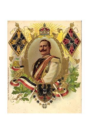 Präge Wappen Litho Kaiser Friedrich Wilhelm II, Krone
