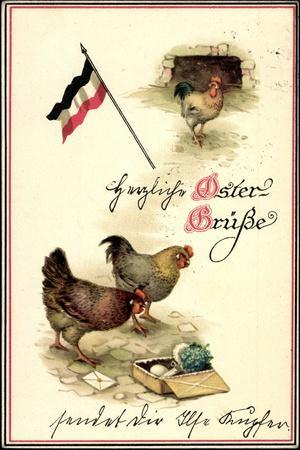 Glückwunsch Ostern, Fahne, Hennen, Kiste, Brief