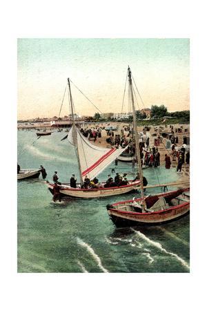 Ahlbeck, Strandszene, Segelboot Kaiserin Augusta