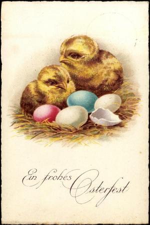 Glückwunsch Ostern, Küken Mit Ostereiern