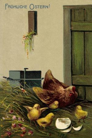 Glückwunsch Ostern, Henne Mit Ihren Küken