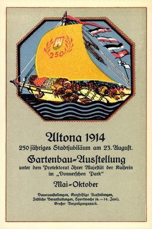 Hamburg Altona, Gartenbauausstellung 1914, Segelboot
