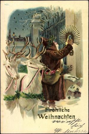 Litho Fröhliche Weihnachten, Weihnachtsmann, Rentiere, Kerze