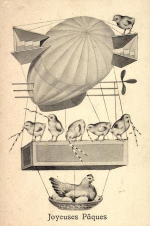Glückwunsch Ostern, Zeppelin, Weidenkätzchen, Henne