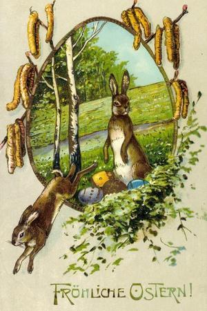 Präge Litho Glückwunsch Ostern, Osterhasen, Ostereier