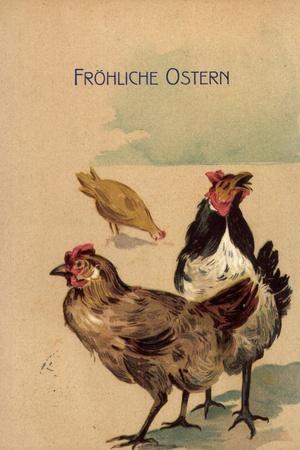 Präge Glückwunsch Ostern, Drei Hennen