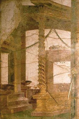 Fresco in Fourth Pompeian Style Depicting an Architectural Decoration