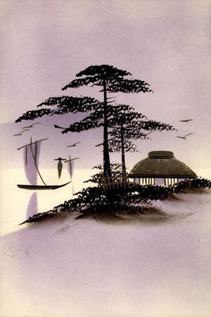 Gold Japanische Landschaft, Hütte, Boot