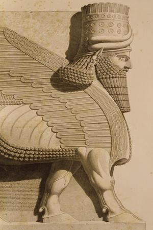 Relief Depicting a Winged Bull, from Monuments of Nineveh by Paul-Emile Botta, 1849