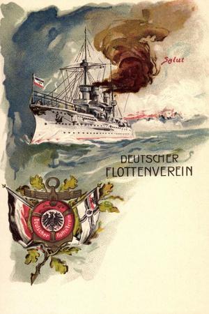 Litho Deutsches Kriegsschiff, Flottenverein, Salut