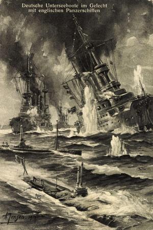 Künstler Jensen,Deutsche U Boote, Engl. Panzerschiffe