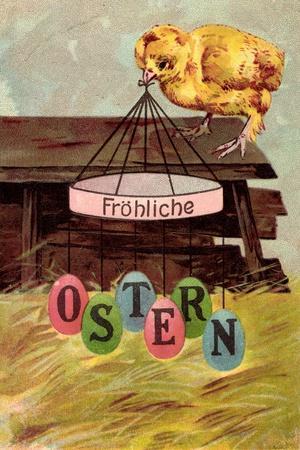 Präge Fröhliche Ostern, Küken Mit Osterschmuck, Stall