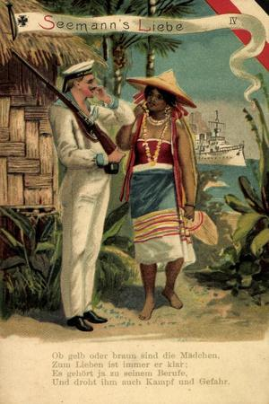 Litho Soldatenliebe IV, Braunes Mädchen, Kriegsschiff
