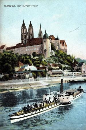 Meissen, Ein Dampfer Auf Der Elbe, Albrechtsburg