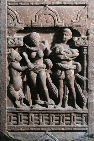 India, Haryana, Gurgaon, Sundarananda Helping Sundari with Her Toilet, Kushan Period