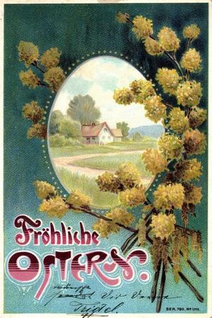 Präge Litho Glückwunsch Ostern, Weidenkätzchen, Haus