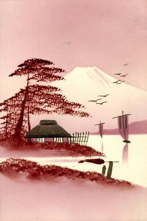 Gold Japanische Landschaft, Fujiyama, Boote