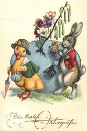 Glückwunsch Ostern, Osterhase Überreicht Ente Blumen