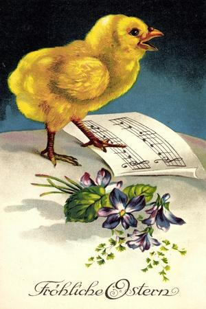 Künstler Frohe Ostern, Küken Mit Notenblatt, Blumen