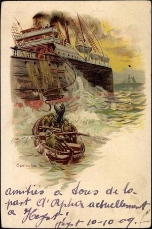 Litho Seelotse, Ruderboot, Dampfschiff,Wellengang