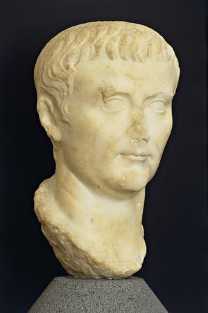 Roman Civilization Head of Tiberius from Roselle, Domus of the Mosaics, Tuscany Region, Italy