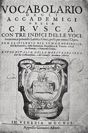Title Page of Accademici Della Crusca Dictionary, First Edition, 1612