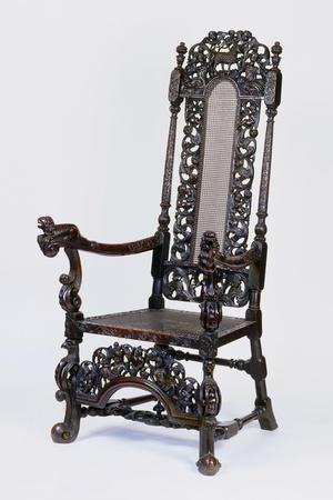 Walnut Armchair with Carved Back and Wicker Seat, United Kingdom