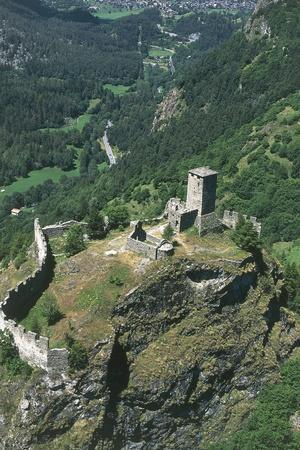 Italy, Aosta Valley, Brusson, Graines Castle, Aerial View