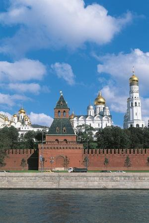 Russia, Moscow, Kremlin, View of Fortified Citadel and Moskva River