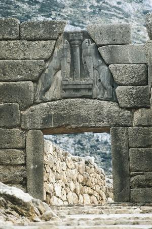 Greece, Peloponnese, Mycenae Archaeological Site, Lion Gate