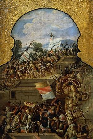 Aztecs Defending Mexico City, Detail from Screen with Scenes of Spanish Conquest
