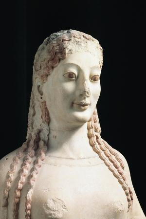 Marble Statue of Kore with Peplum, Height 120 Cm, Detail, Head
