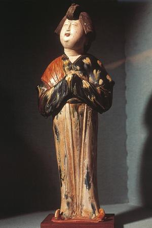 Court Lady, Glazed Tri-Colour Ceramic Statue, China, Tang Dynasty, 8th Century