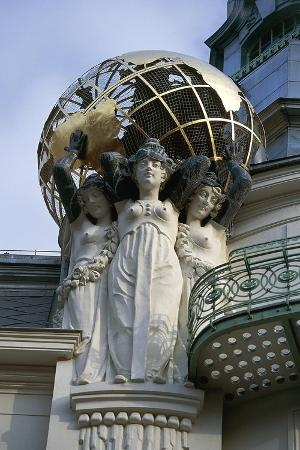 Female Figures Holding Up Globe, Detail of Art Nouveau Building in Vienna, Austria