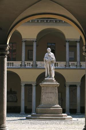 Pavia University, Inner Courtyard with Alessandro Volta Statue, Pavia, Lombardy, Italy