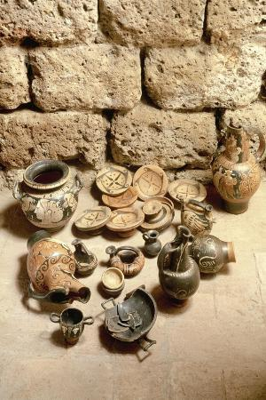 Etruscan Civilization, Funerary Objects Found in Tomb at Cerveteri, Lazio Region, Italy