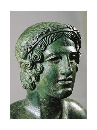 Detail of Lid of a Cinerary Urn with a Portrait of a Reclining Young Man, 400/375 B.C., Bronze