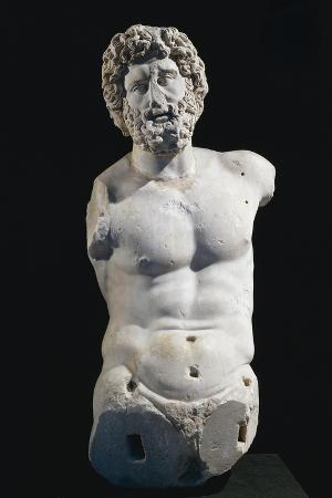 Marble Bust of Demos Personification of People, Artifact Uncovered in Ephesus, Turkey