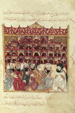 Scholars in a Library in a Mosque, Arabic Miniature from a Work by Al-Hariri