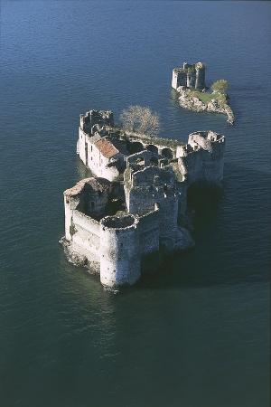 Italy, Piedmont Region, Castle Vitaliana of Cannero Riviera, Aerial View