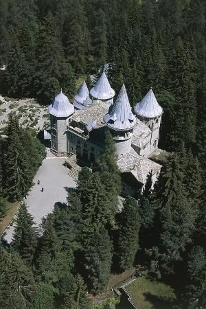 Italy, Aosta Valley, Savoy Castle in Gressoney-St. Jean, Aerial View