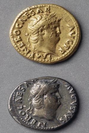 Aureus and Denarius of Nero Bearing Images of Emperor, Roman Coins AD