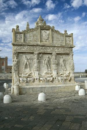 Greek Fountain Depicting Metamorphosis of Dirce, Salmacis and Biblide, Gallipoli, Apulia, Italy