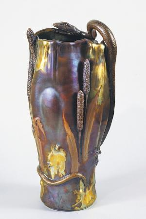 Iridescent Vase Decorated with Reeds, Ceramic, Zsolnay Manufacture, Hungary