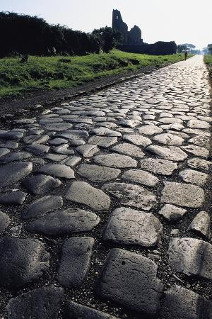 Section of the Appian Way, Ancient Roman Road Paved, Lazio, Italy BC