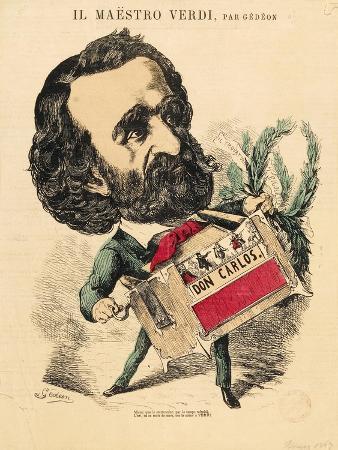 France, Paris, Caricatural Portrait of Giuseppe Verdi