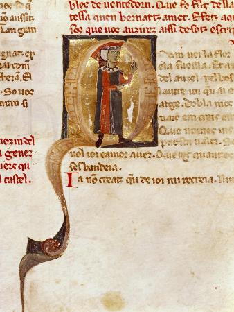 An Illuminated Initial Capital Letter, Miniature from Provencal Song Book by Jaufre Rudel
